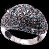 """Кольцо """"Голубые и черные бриллианты"""""""